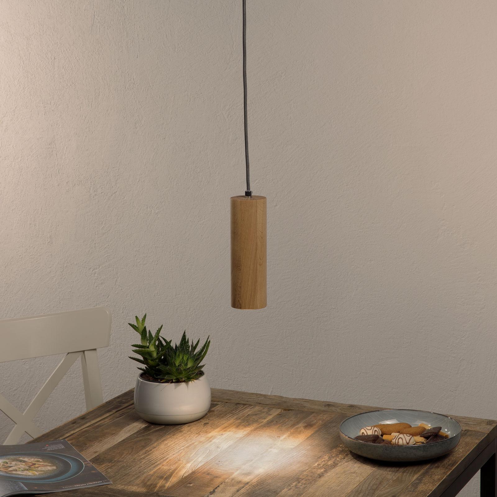 Pipe LED-pendellampe med 1 lyskilde af egetræ