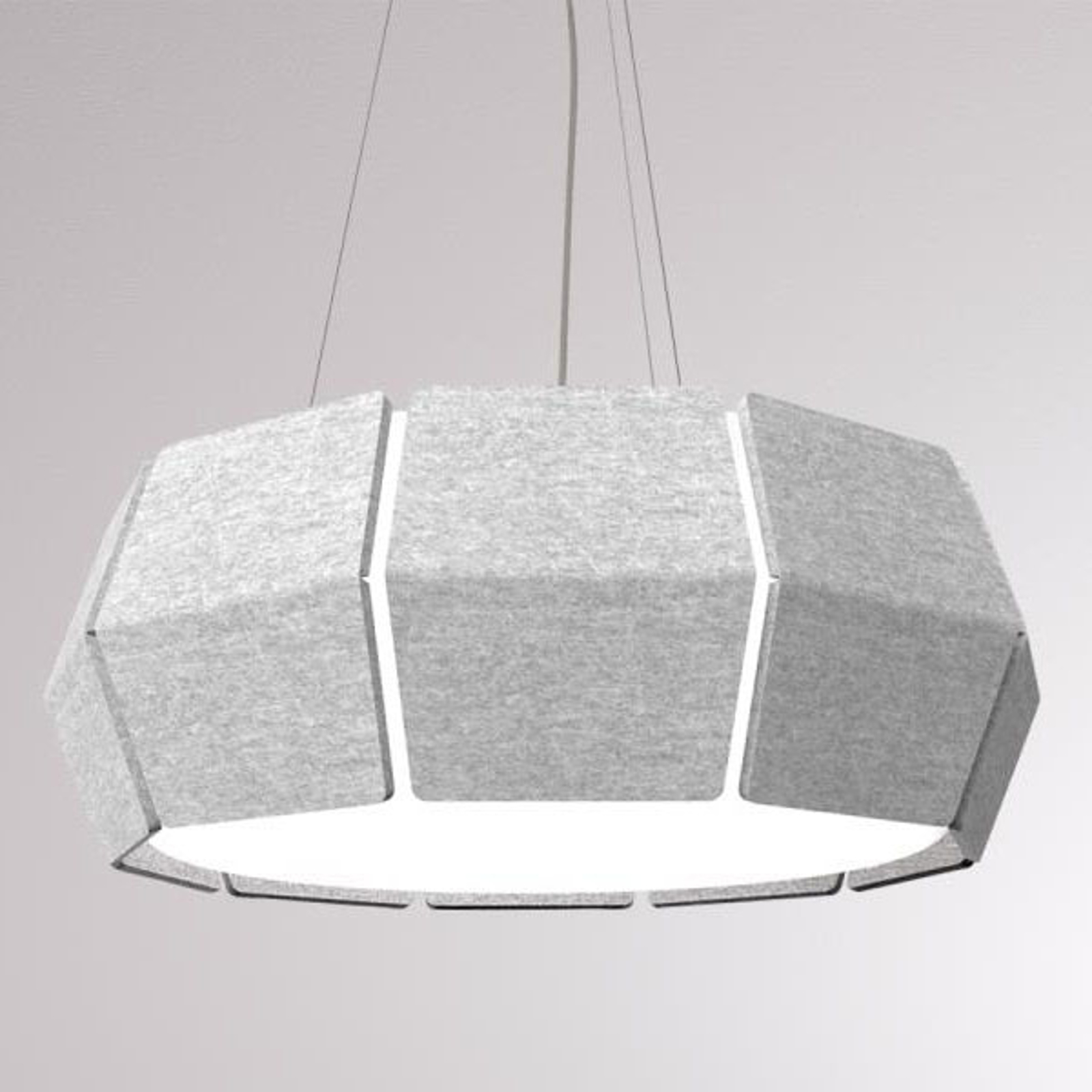 LOUM Decafelt suspension LED acoust. grise Ø 54 cm