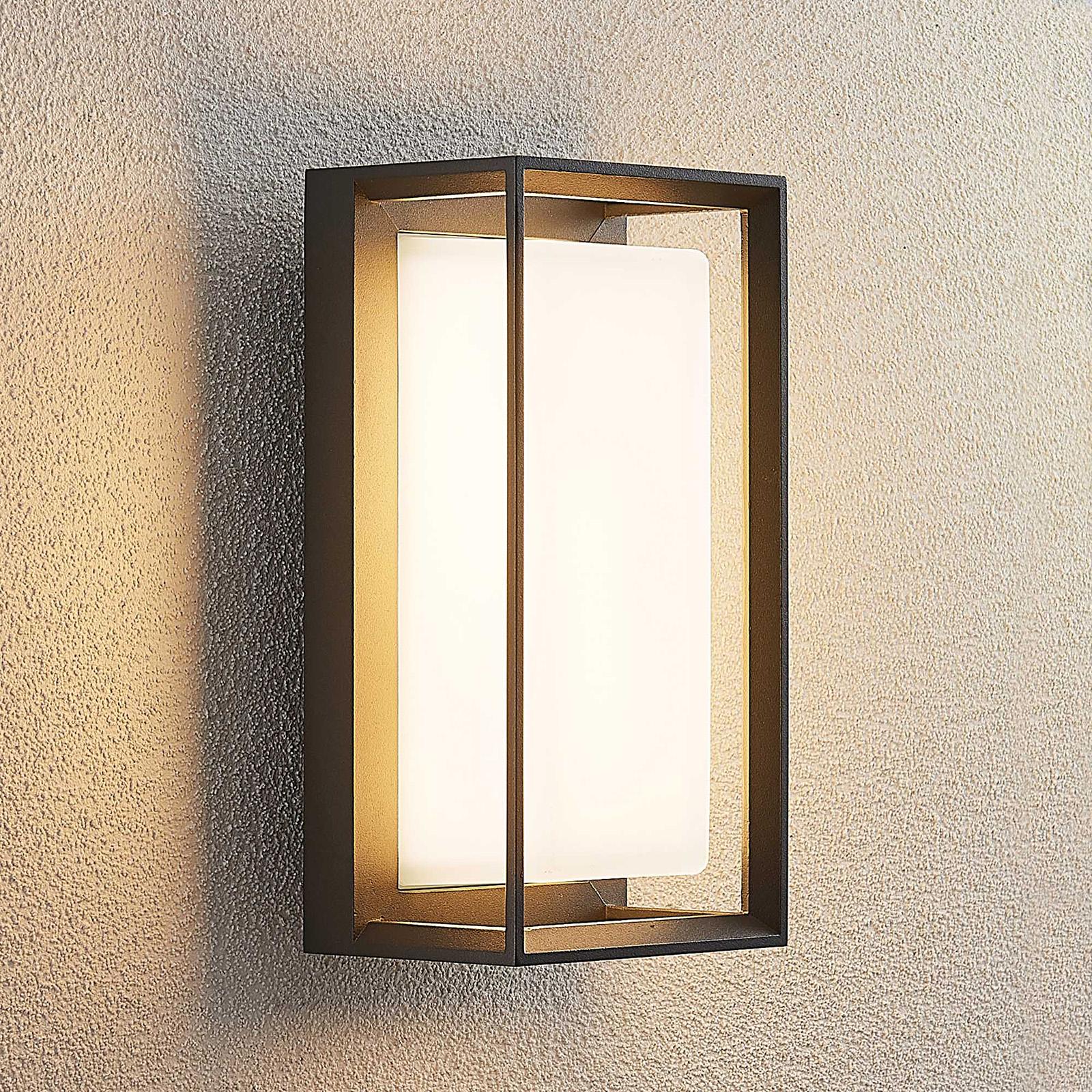 Lucande Ronida utendørs LED-vegglampe, kantet