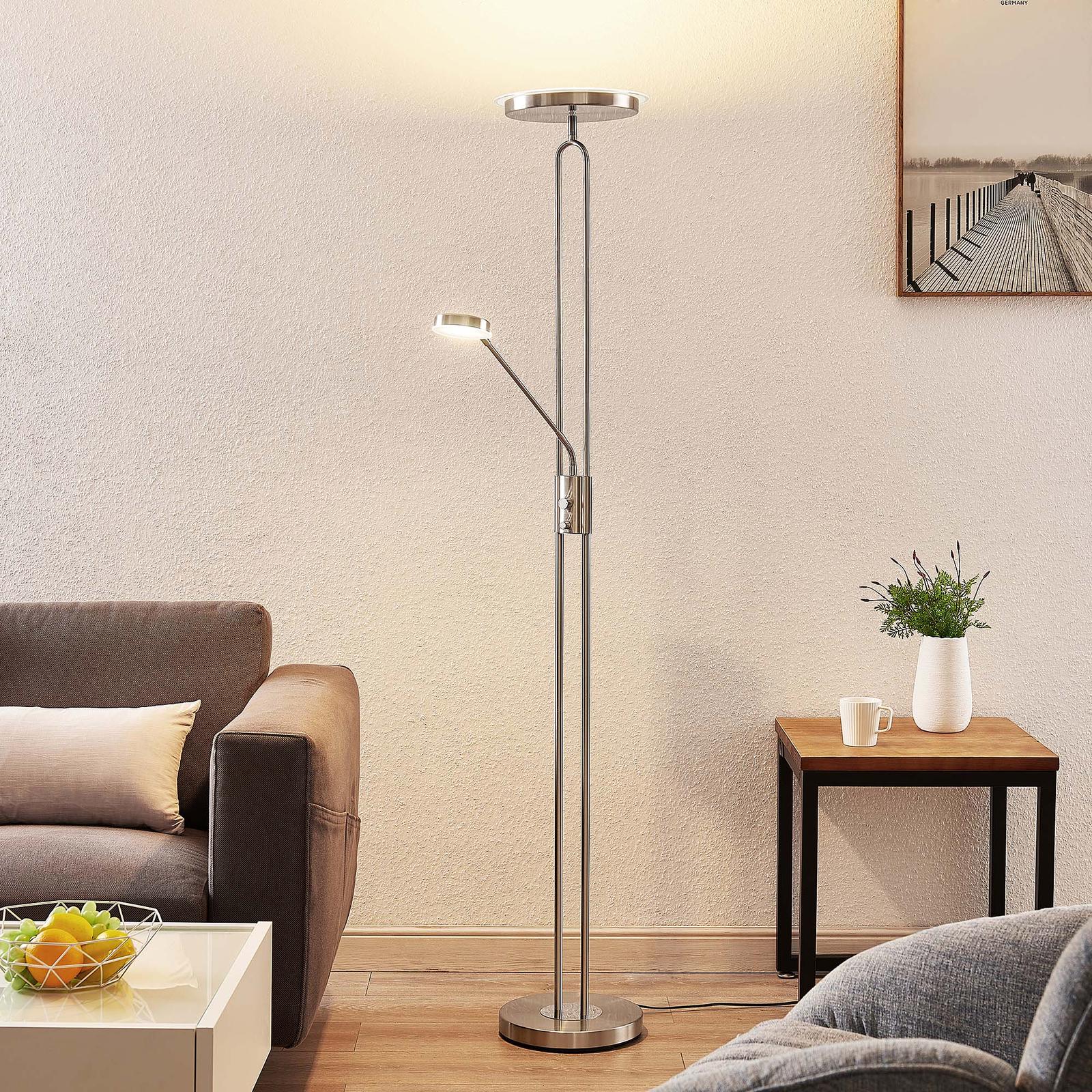 Lindby Twina lampa stojąca LED, chrom satynowany