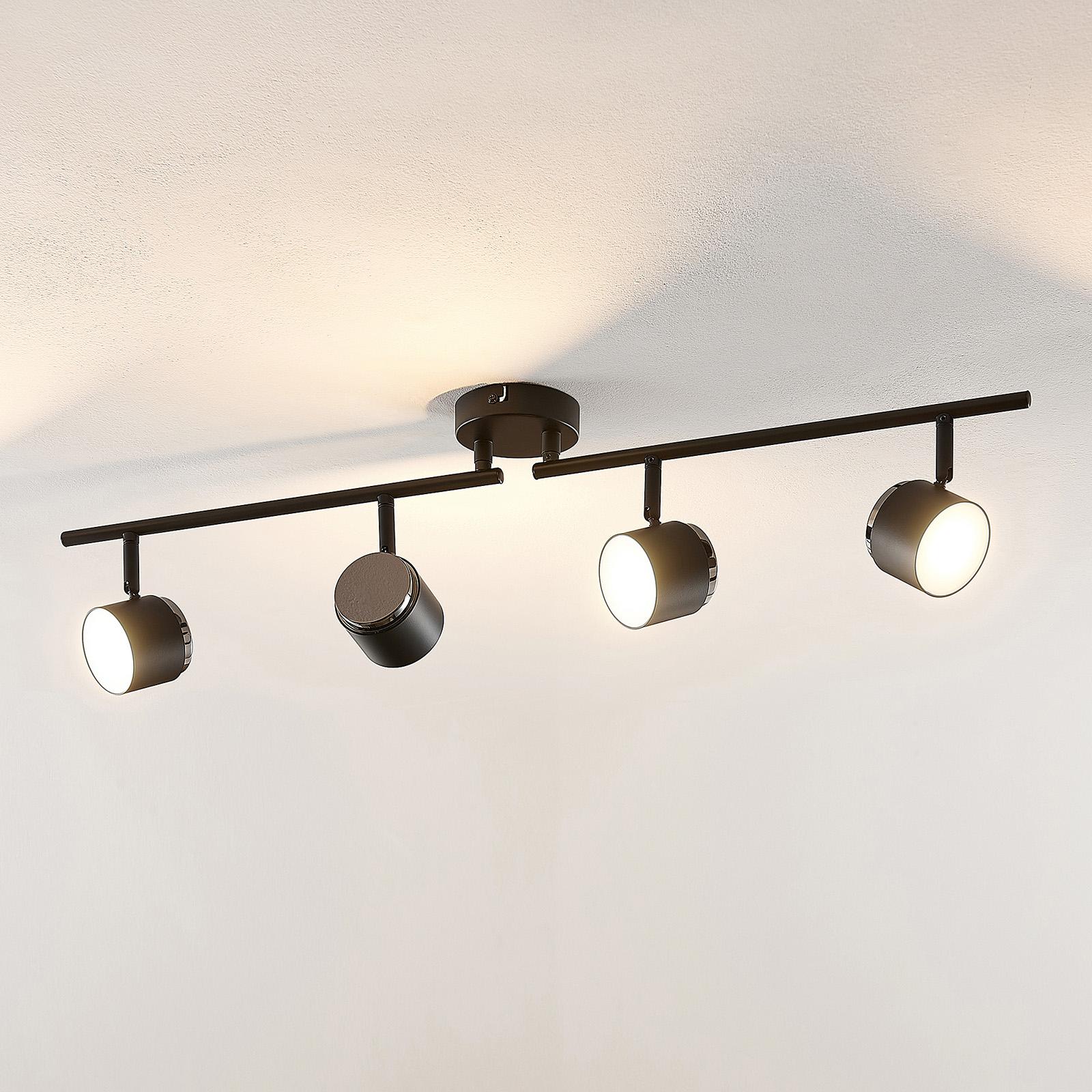 Lindby Marrie -LED-kohdevalaisin, musta, 4-lamp.