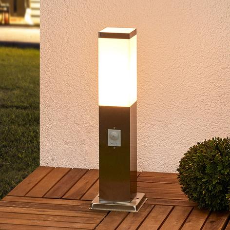 Lámpara zócalo de acero inox Lorian con sensor
