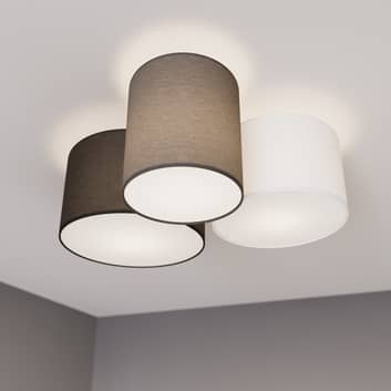 Lindby Laurenz plafondlamp, 3-lamps, grijs, bruin