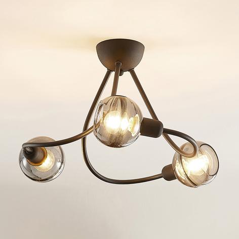 Lucande Able strop světlo, kouřové sklo, třížár.