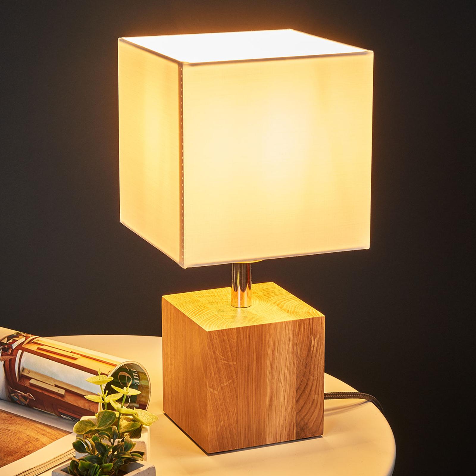 Drewniana lampa stołowa Trongo, antracytowy kabel
