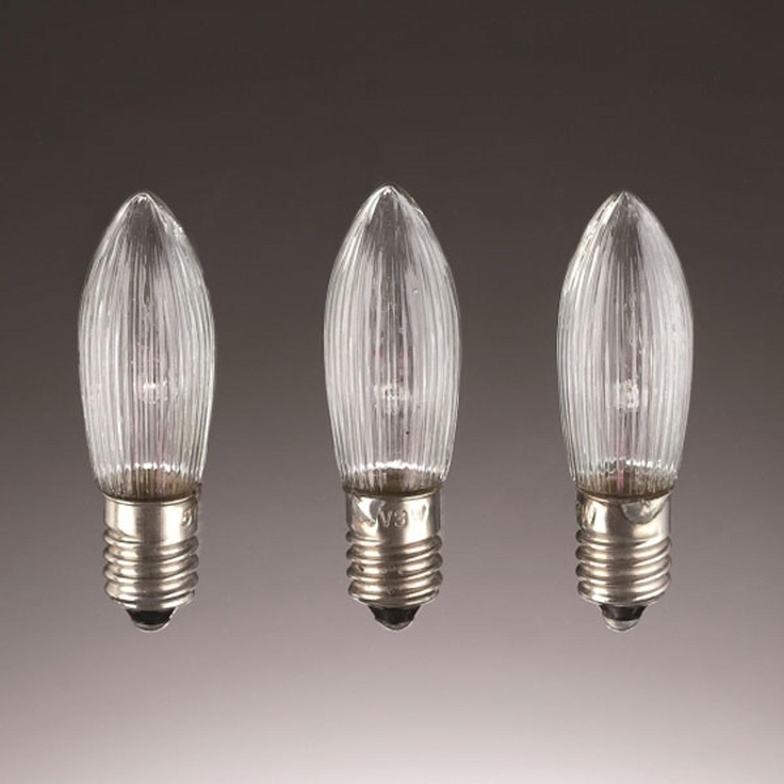 E10 ljuslampor 3W 34V reservlampor 3-pack