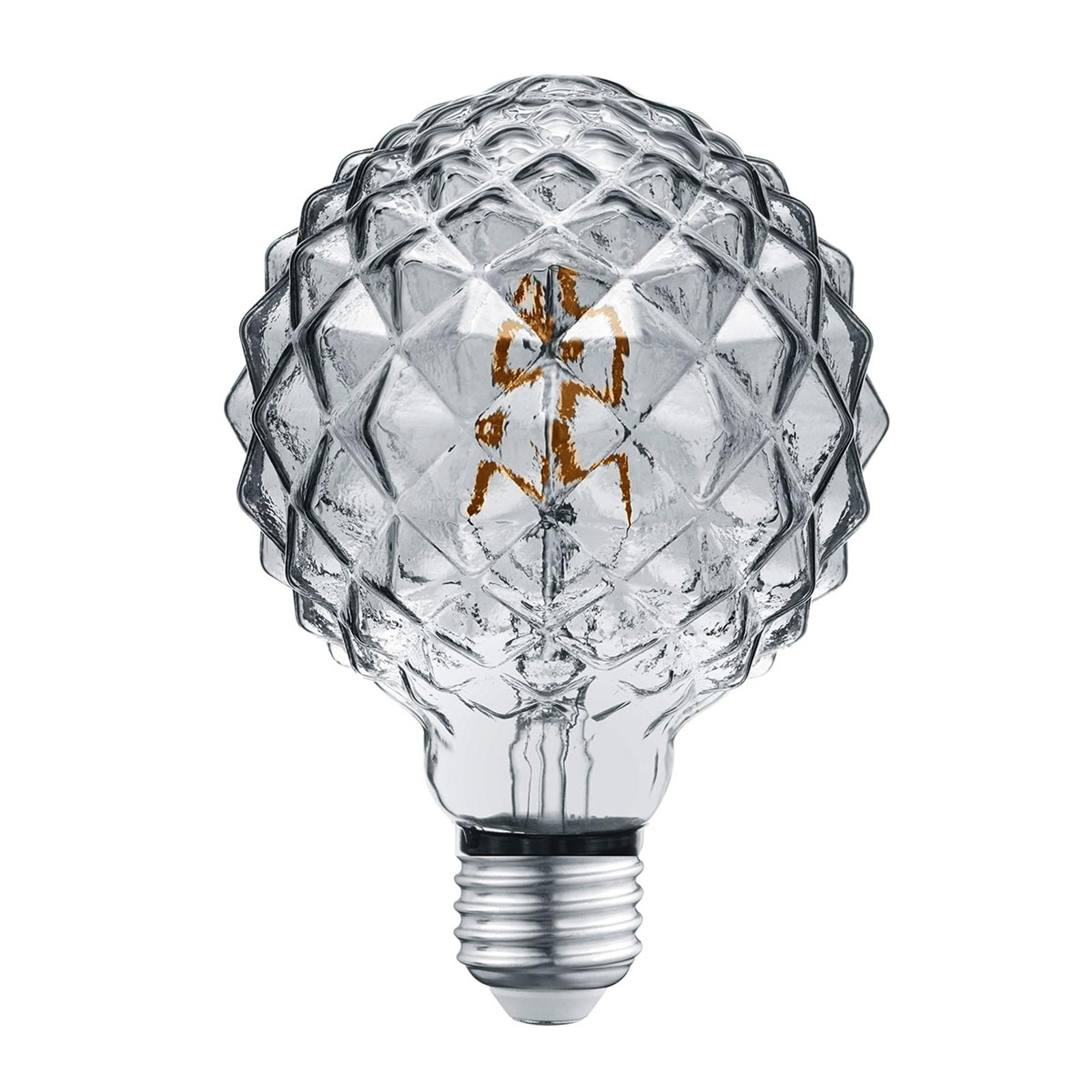 LED-Globelampe E27 4W 3.000K Struktur rauch
