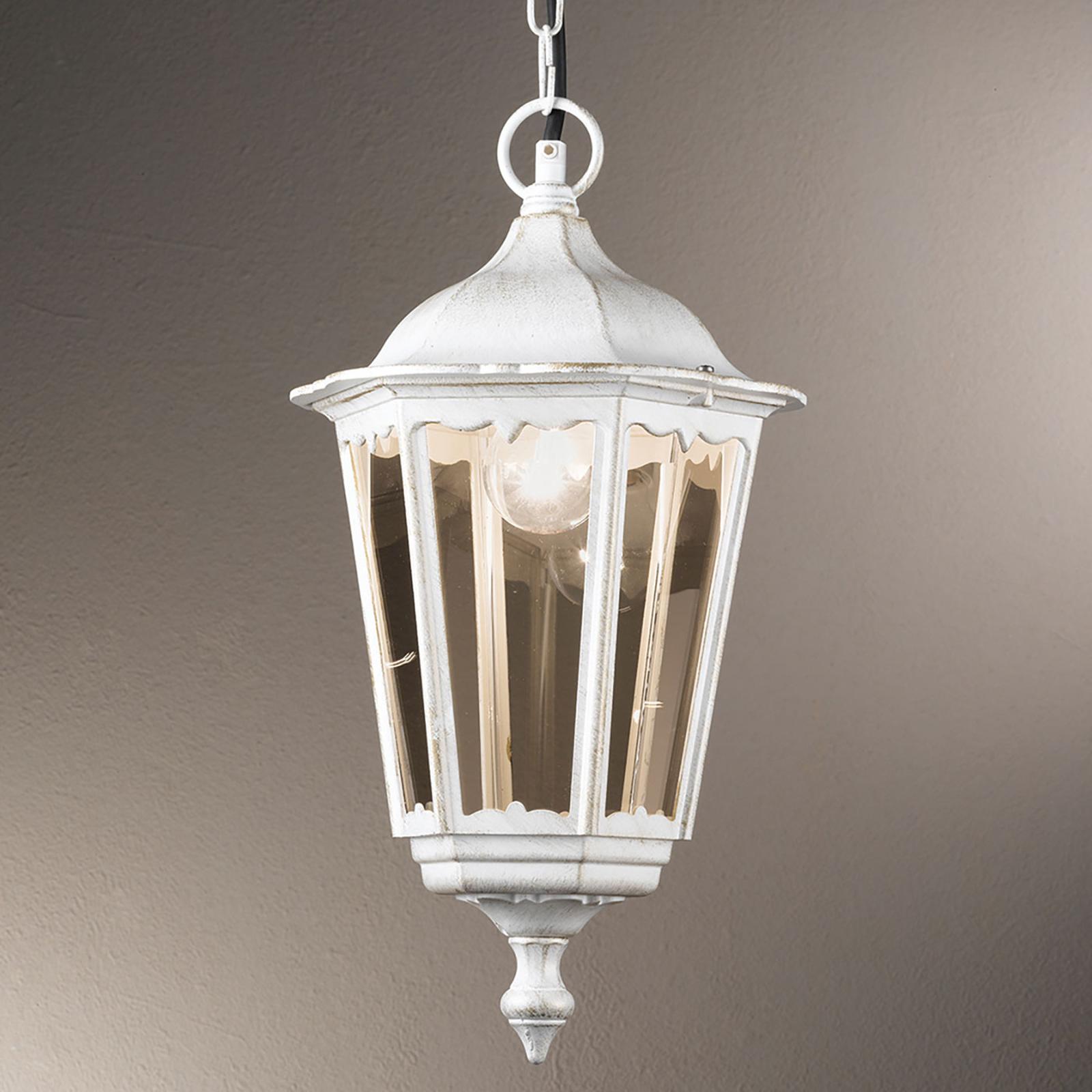 Lampa wisząca Puchberg zewnętrzna, biało-złota