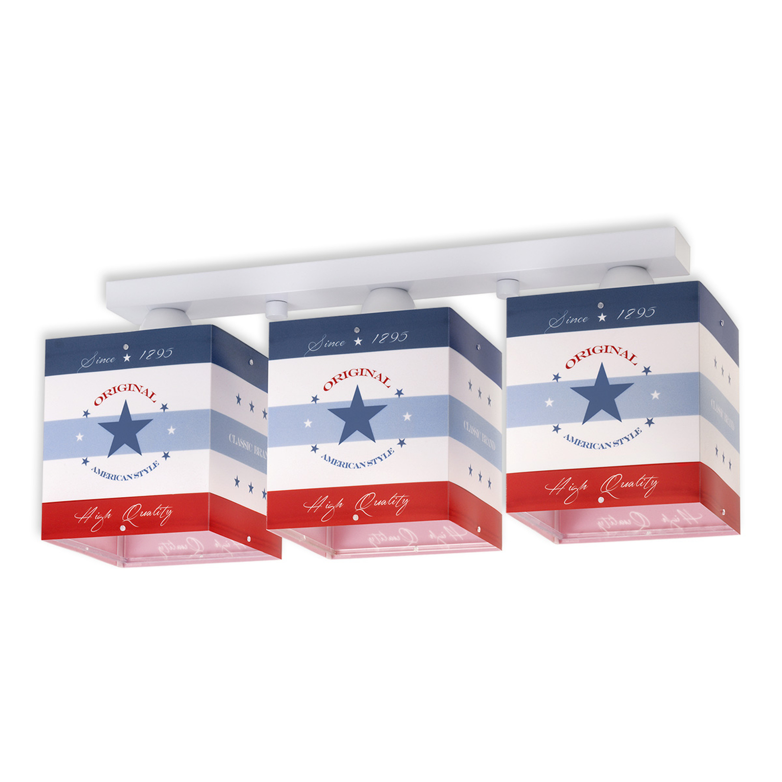 Plafón a rayas American Style, 3 luces