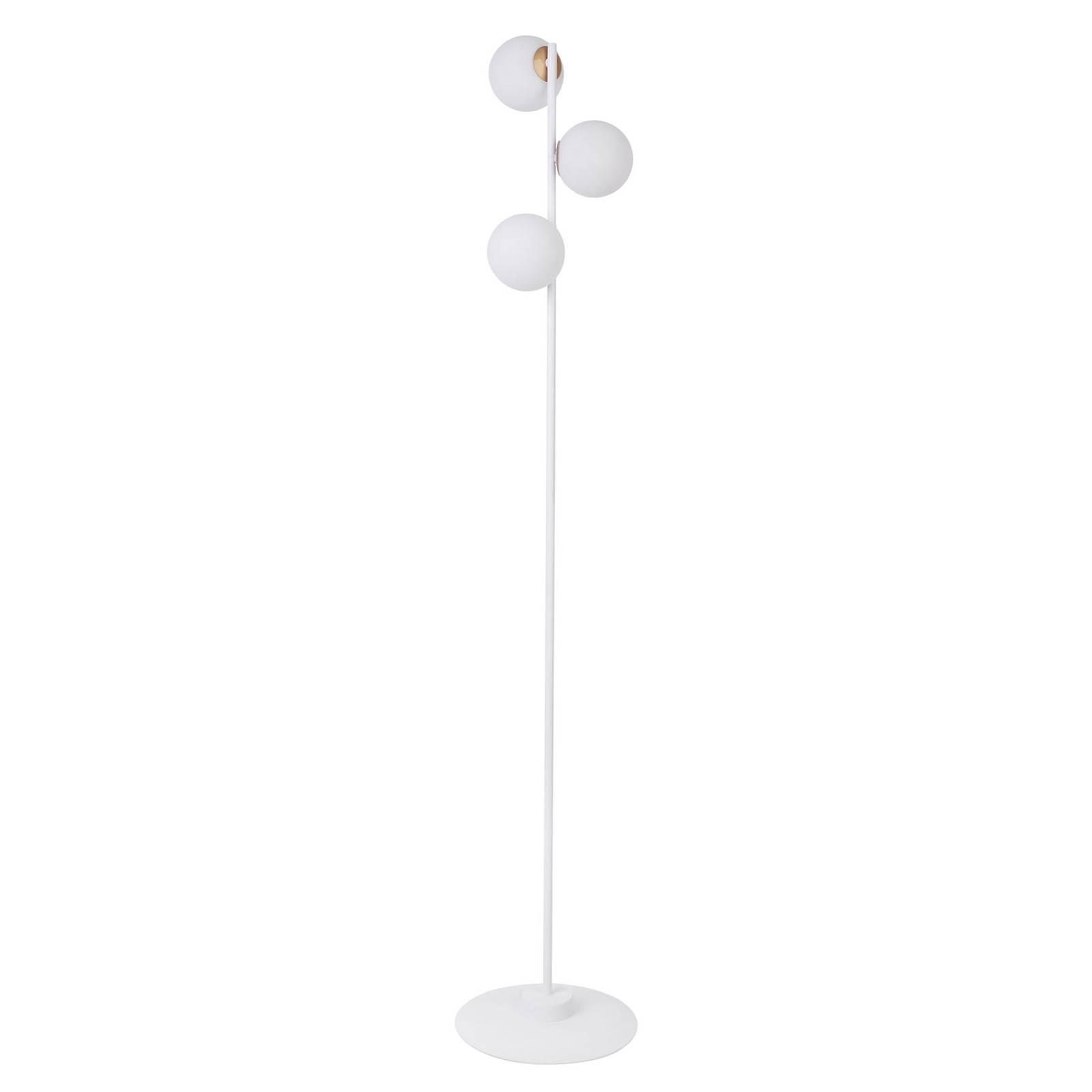 Stehleuchte Gama 3 in Weiß mit drei Glaskugeln
