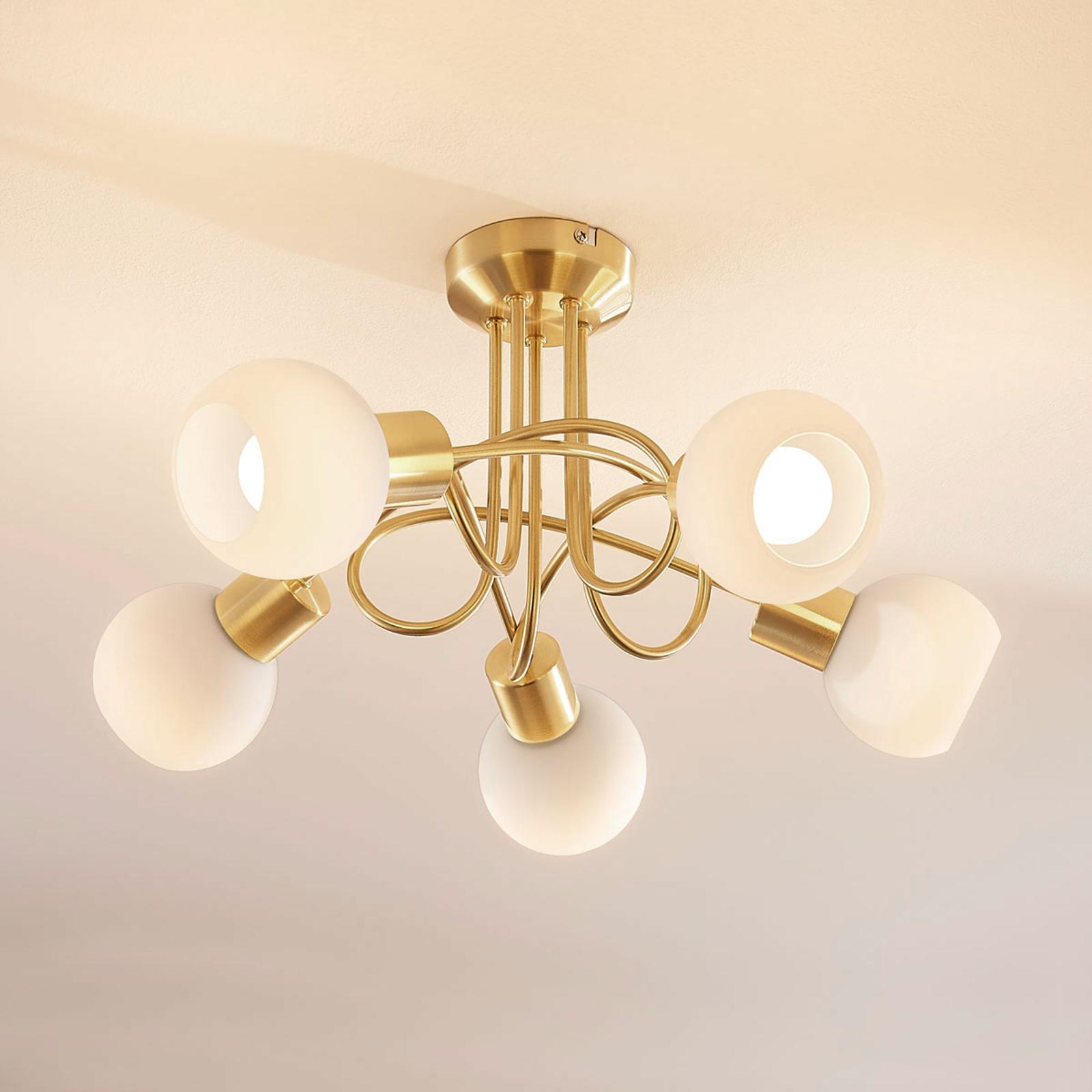 Mässingfärgad LED-taklampa Elaina, 5 ljuskällor