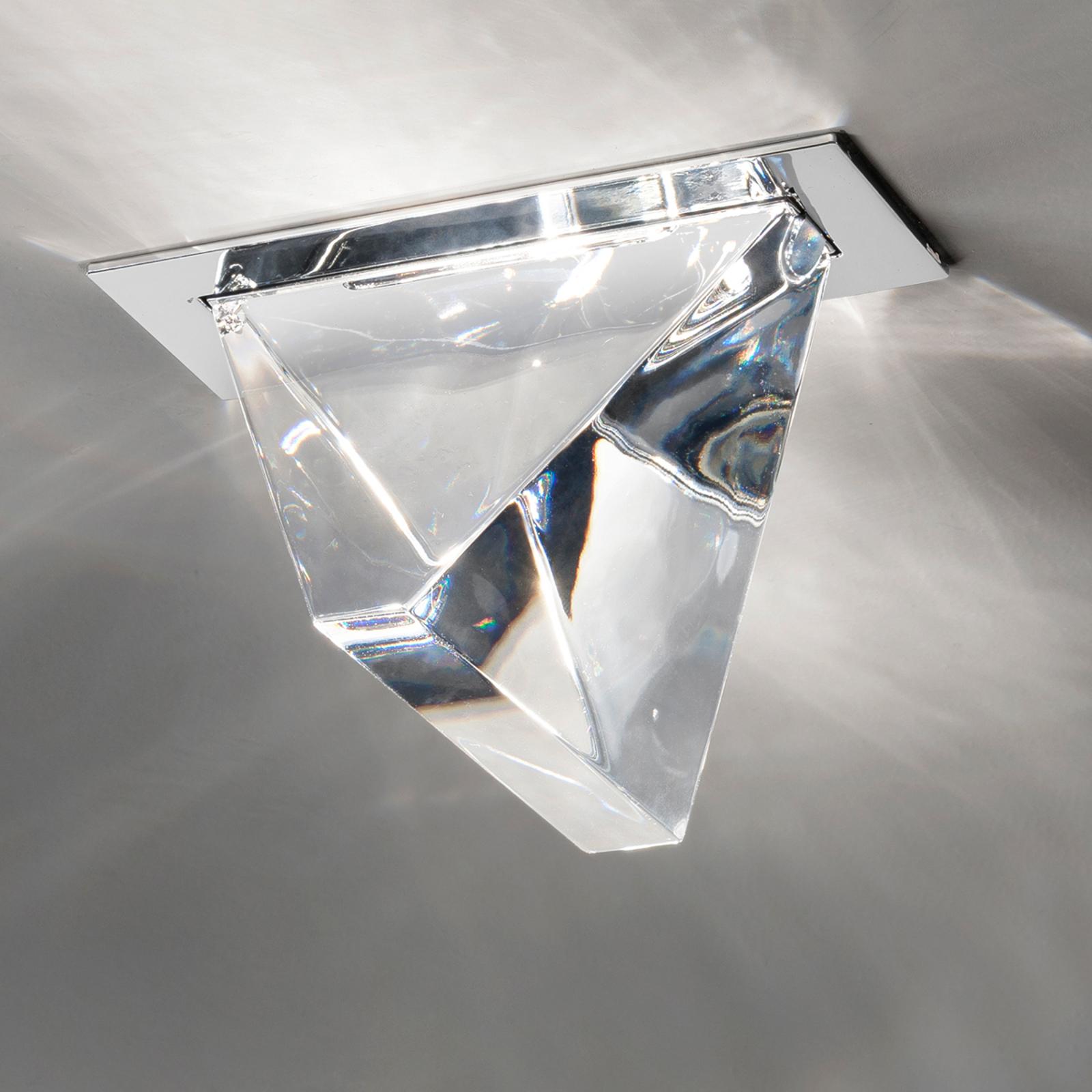 Plafonnier encastré LED Tripla à cristal, alu