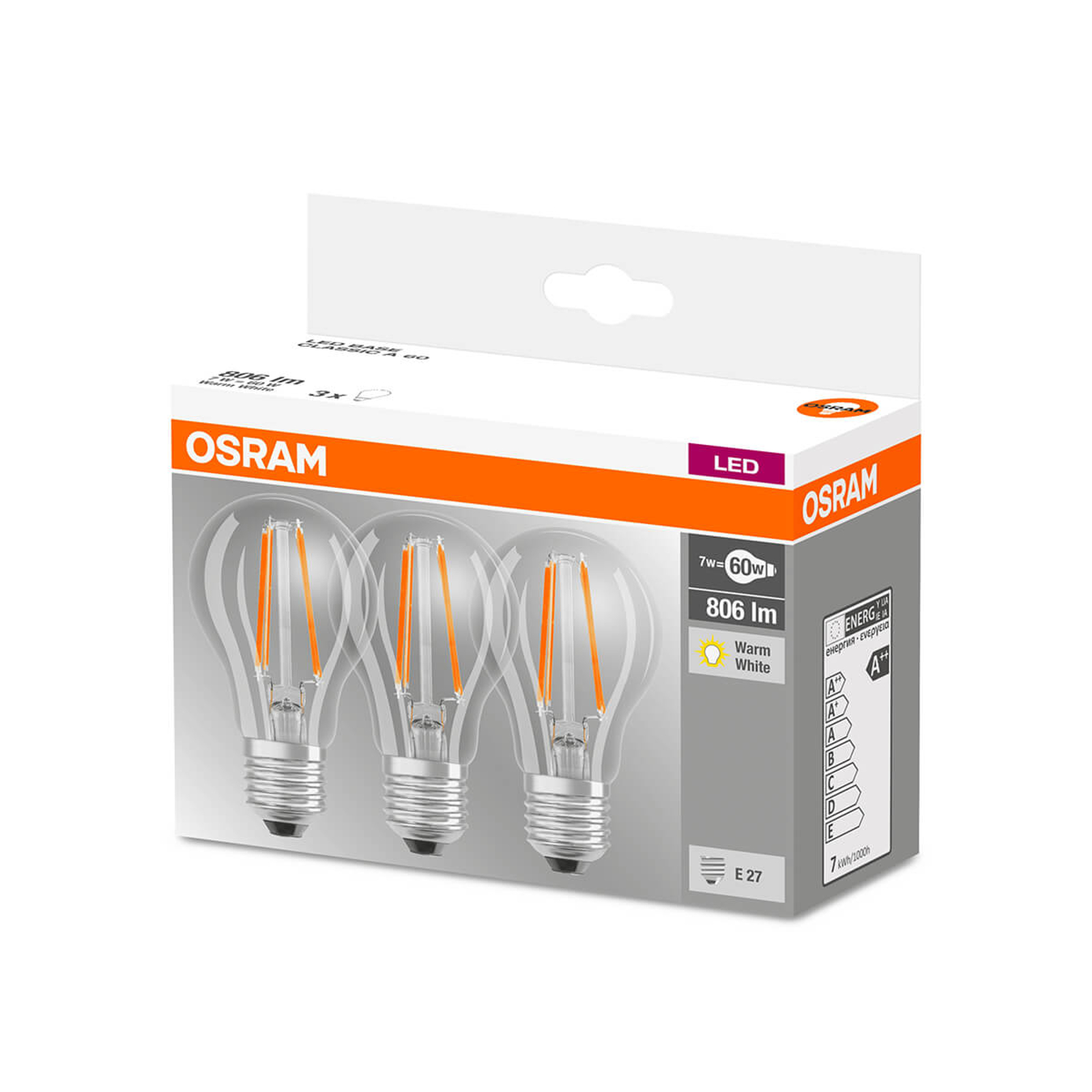 Lampadina a filamenti LED E27 6W, set da 3