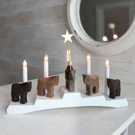 Kerzenleuchter Staffans fålar, braun/weiß
