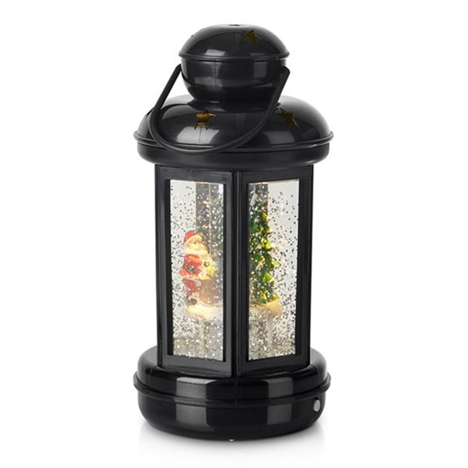 Lanterne déco Cosy LED noire, paillettes