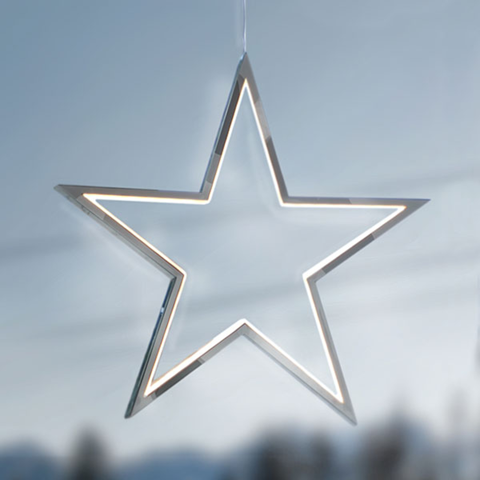 Gwiazda LED Lucy 34 cm, chromowane aluminium