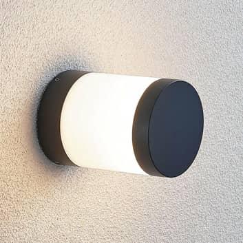 Utendørs LED-vegglampe Nitalia, rund, mørkegrå