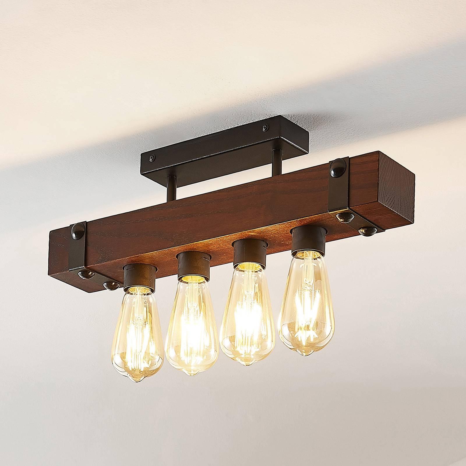Lindby Michaela lampa sufitowa, drewniana, 4-pkt.