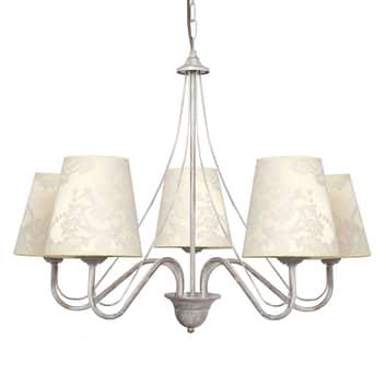 Lámpara de araña Malbo 5 luces blanco tulipas tela
