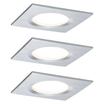 Paulmann Coin Slim LED-Einbauspot 3er eckig alu