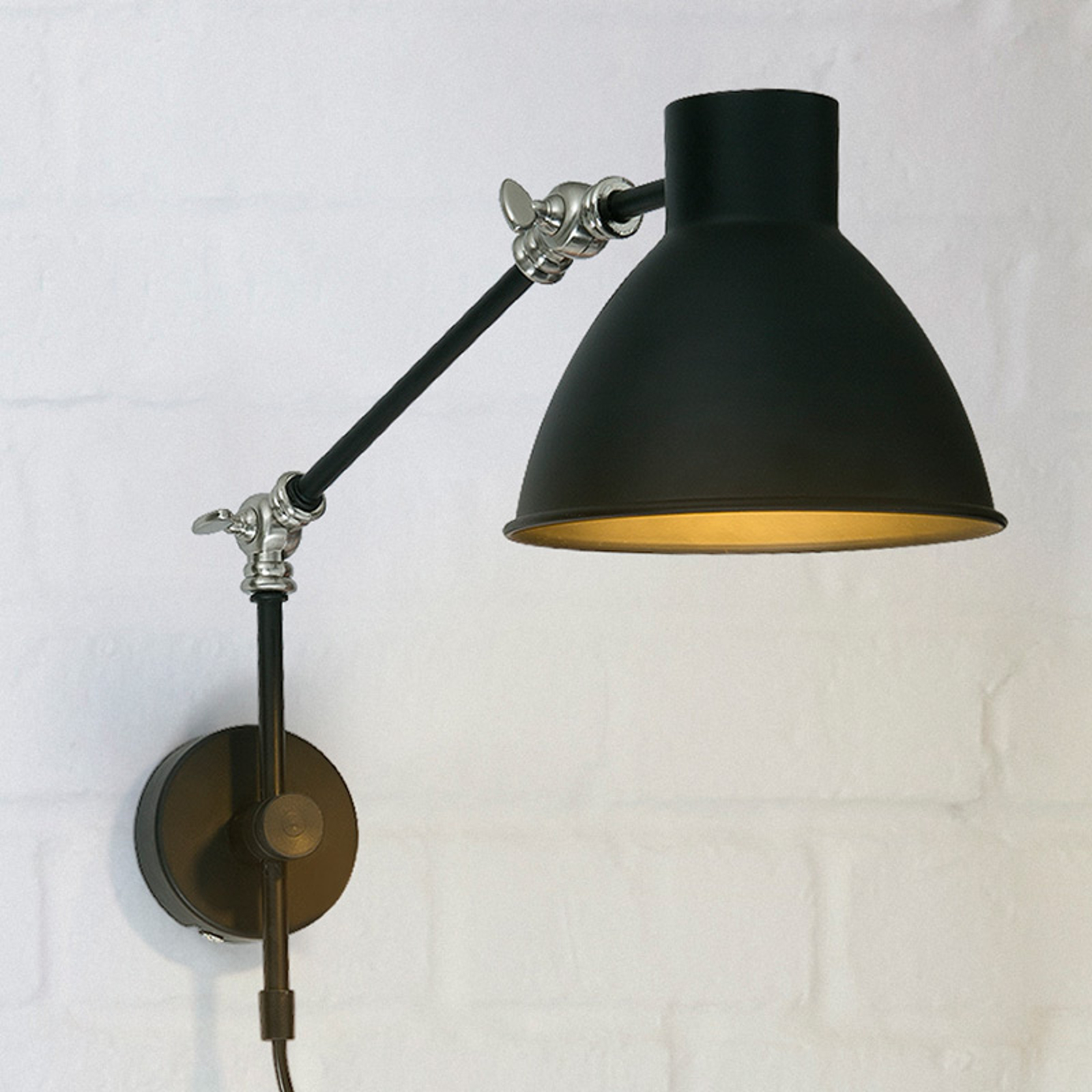 Vägglampa Celia, justerbar, svart