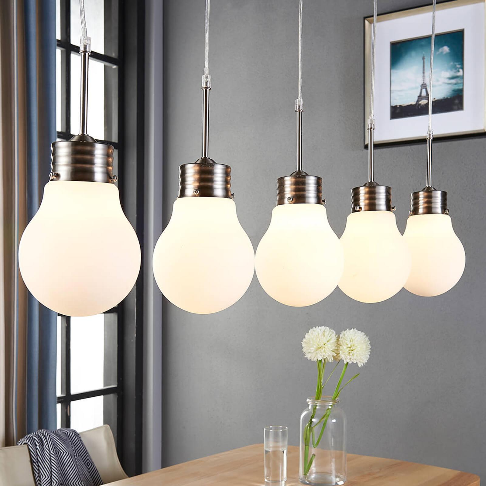 5 lysk. LED pendellampe Bado, dæmpes på kontakt