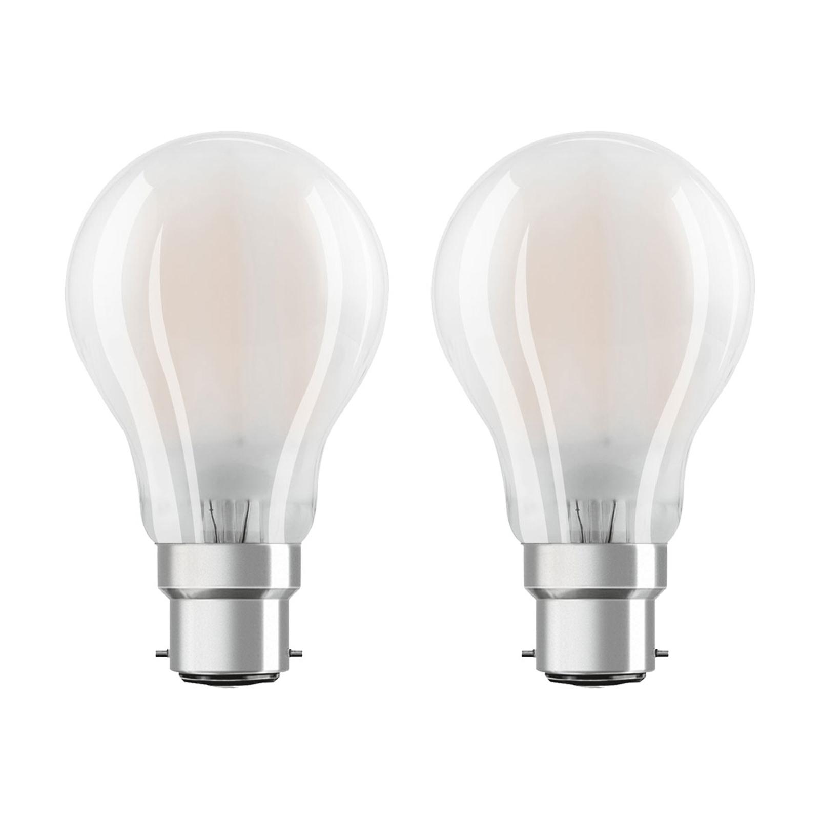 OSRAM LED-Lampe B22d Classic 827 7W 2er-Pack matt