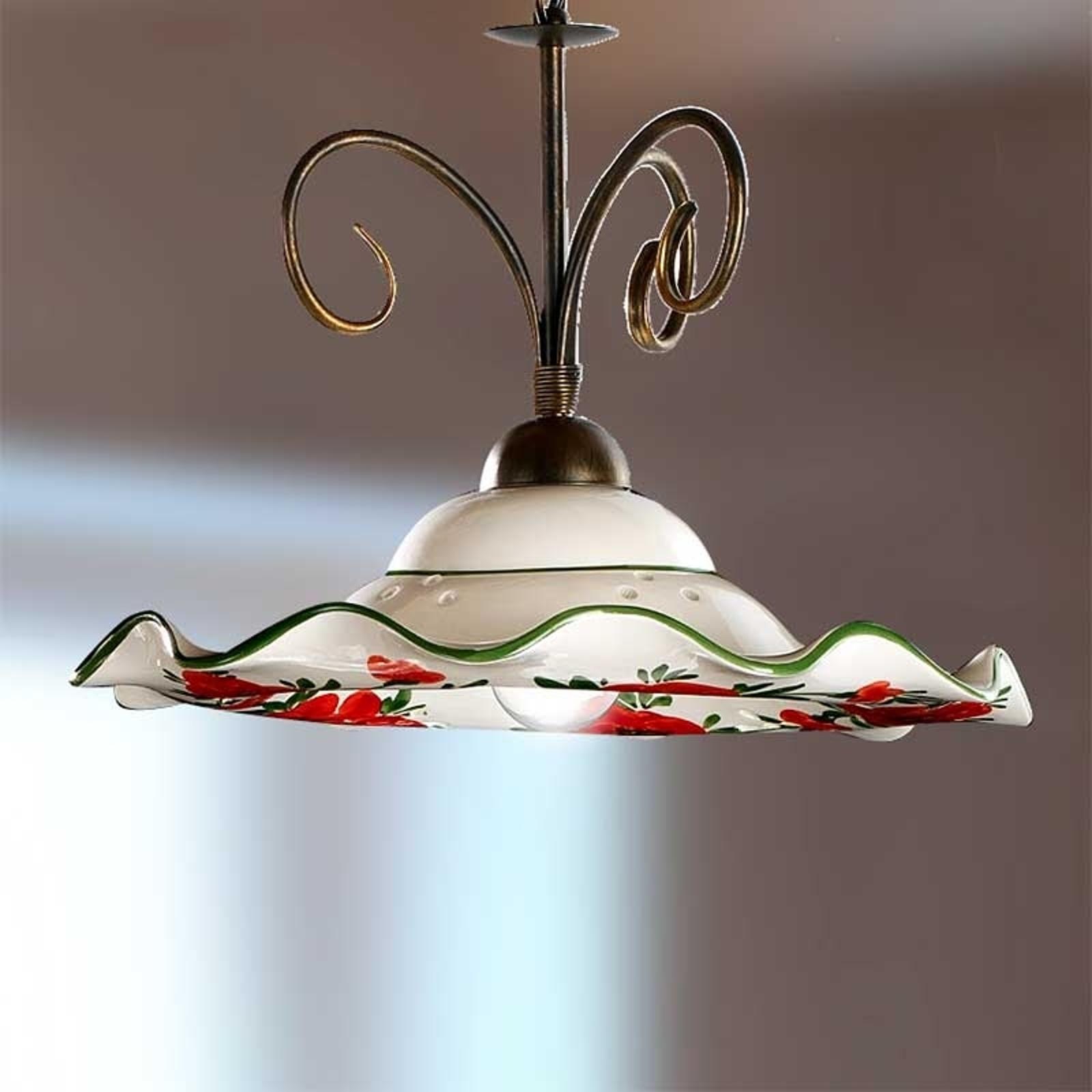 Prachtige hanglamp ROSOLACCI met keramieken kap.