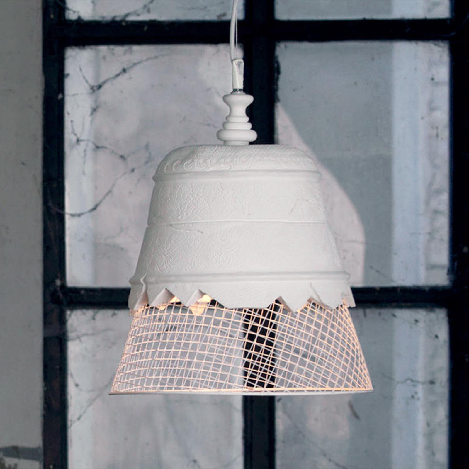 Gipsowa lampa wisząca Domenica, biała, 35cm