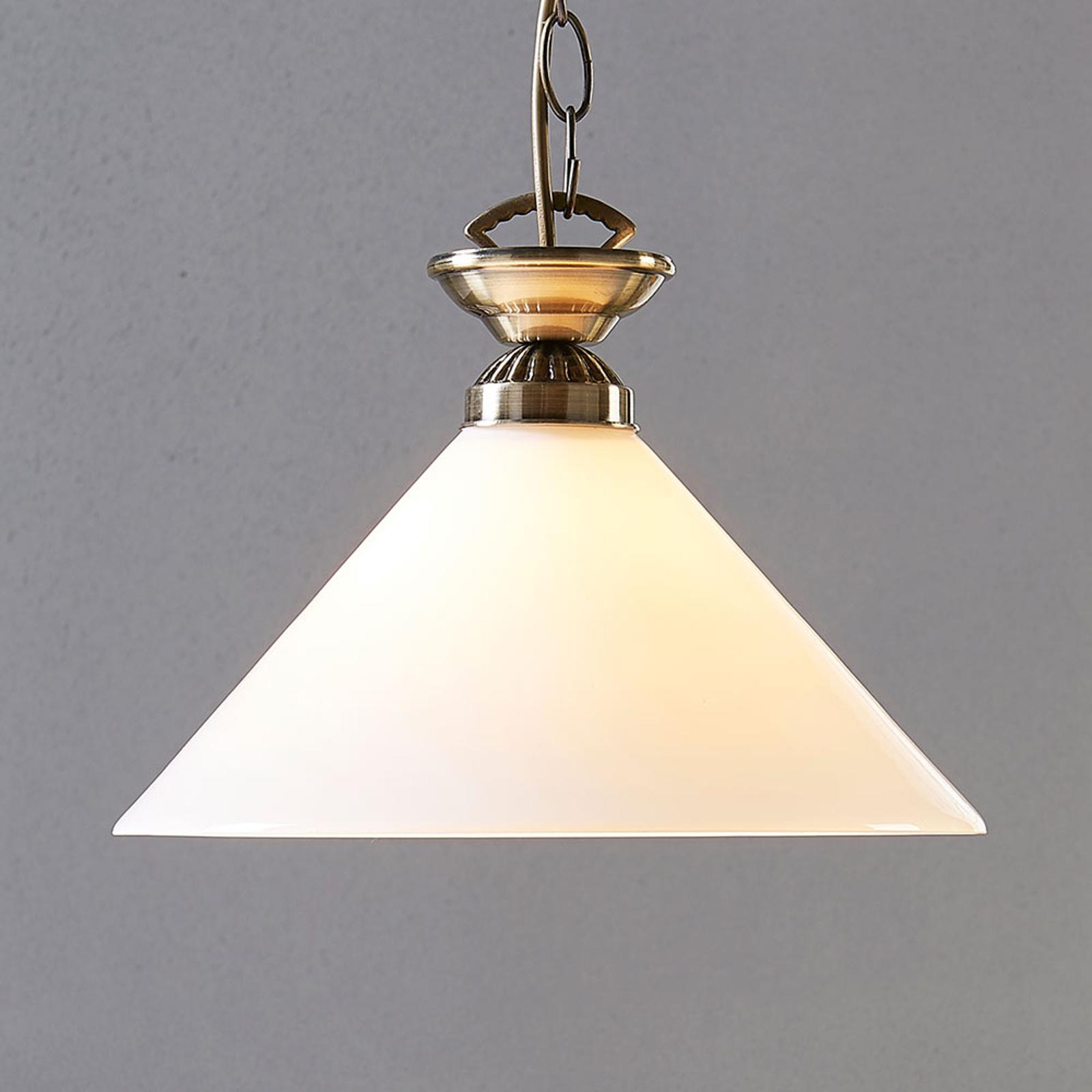 Szklana lampa wisząca Otis w kol. post. mosiądzu