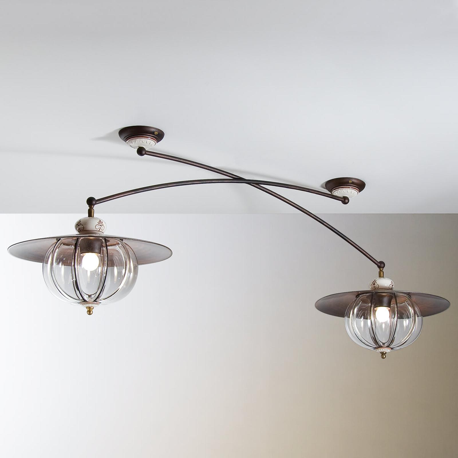 Plafonnier Lampara à 2 lampes style rustique