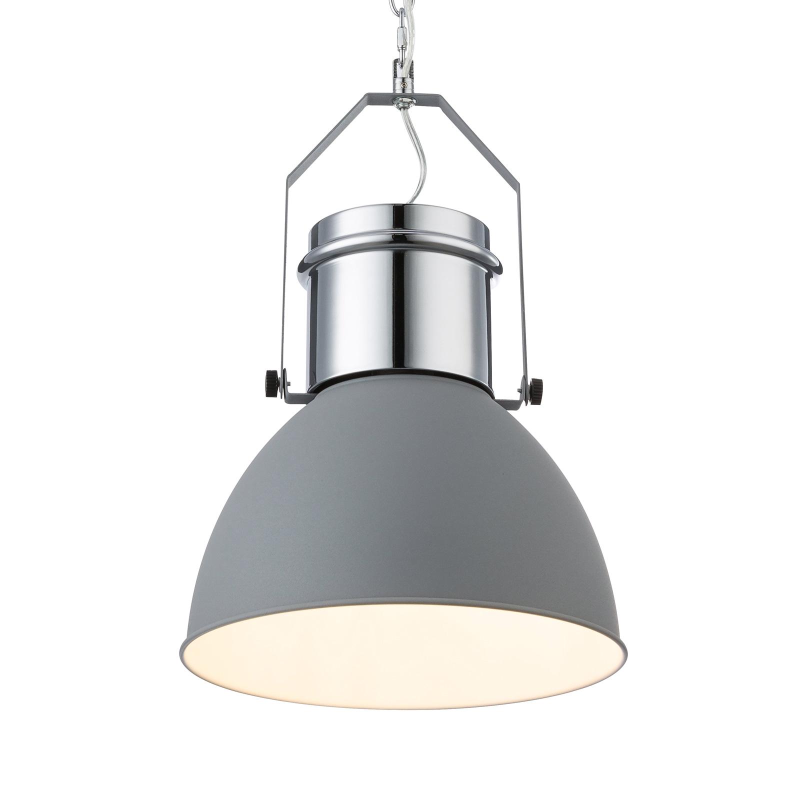 Hanglamp Kutum, grijs, chroom