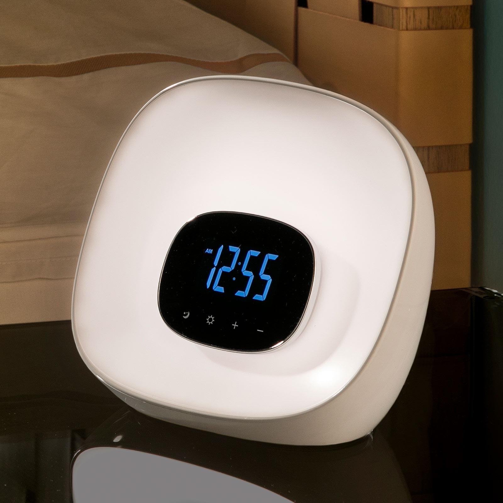 Lampa stołowa Sunrise z zegarem radiem i budzikiem