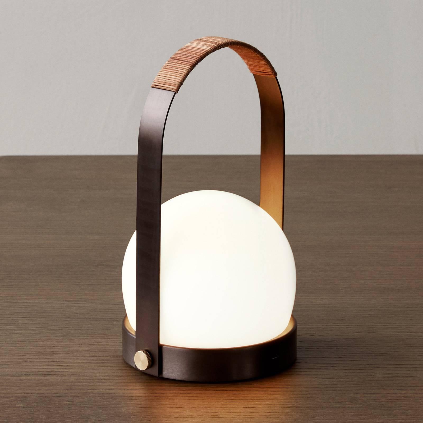 Menu Carrie LED tafellamp oplaadbaar brons/leer