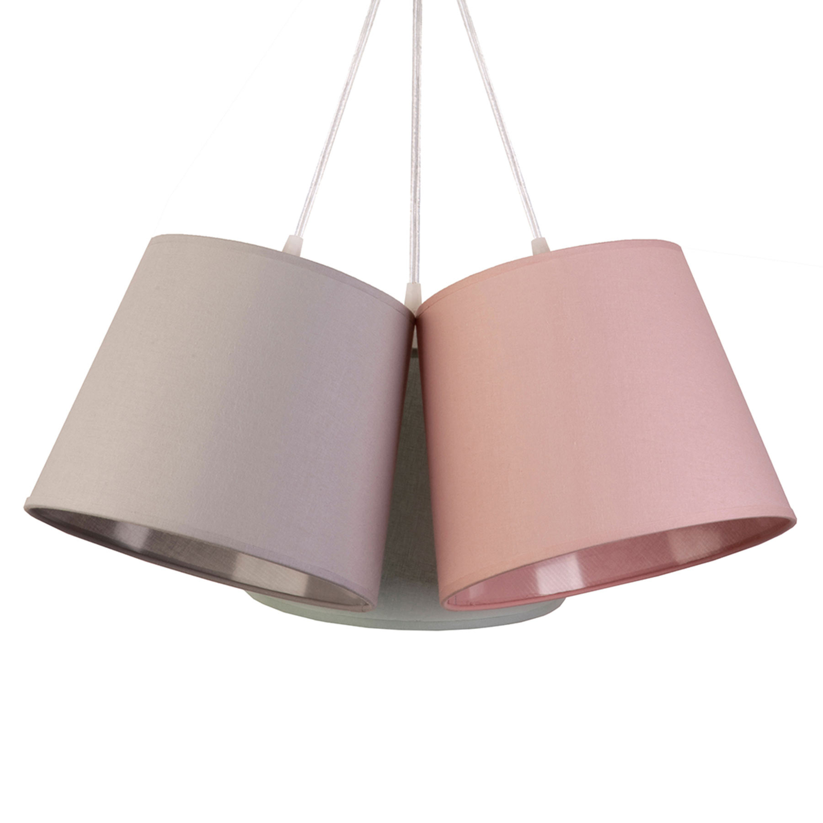 Suspension Rossa à 3 lampes, grise/rose