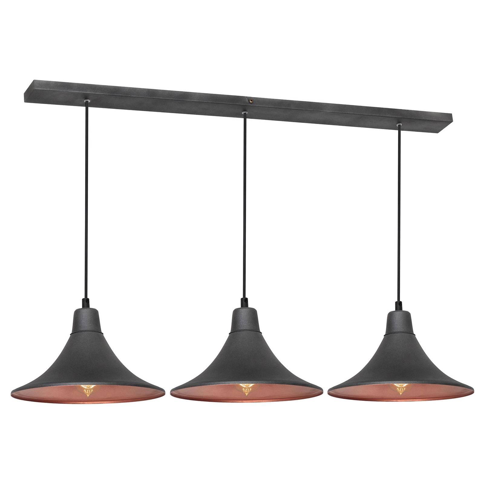 Suspension 785, à 3 lampes, graphite/cuivrée