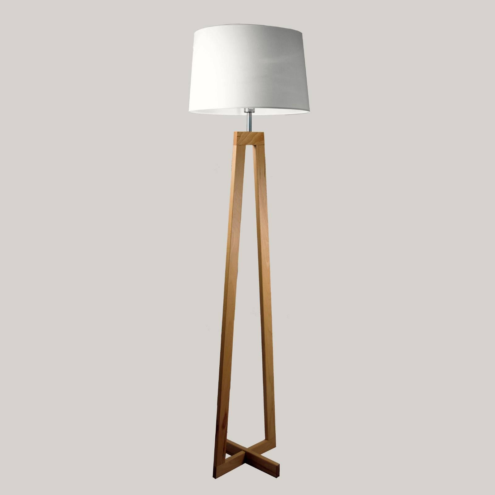 Stehleuchte Sacha LS aus Holz und Textil, weiß