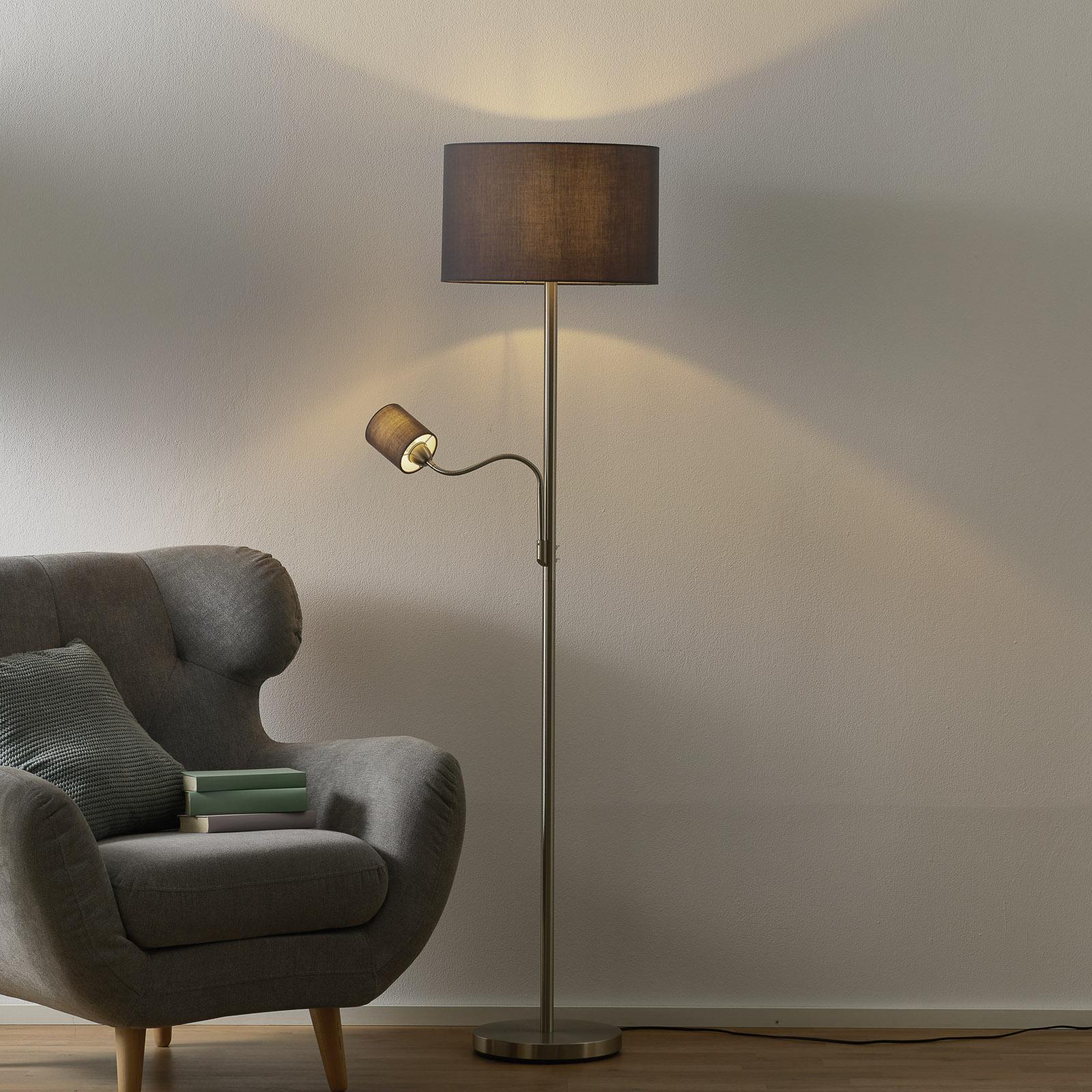 Hotel standerlampe med læselampe, grå skærm