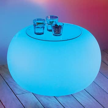 Stół BUBBLE, światło LED RGB i szklany blat