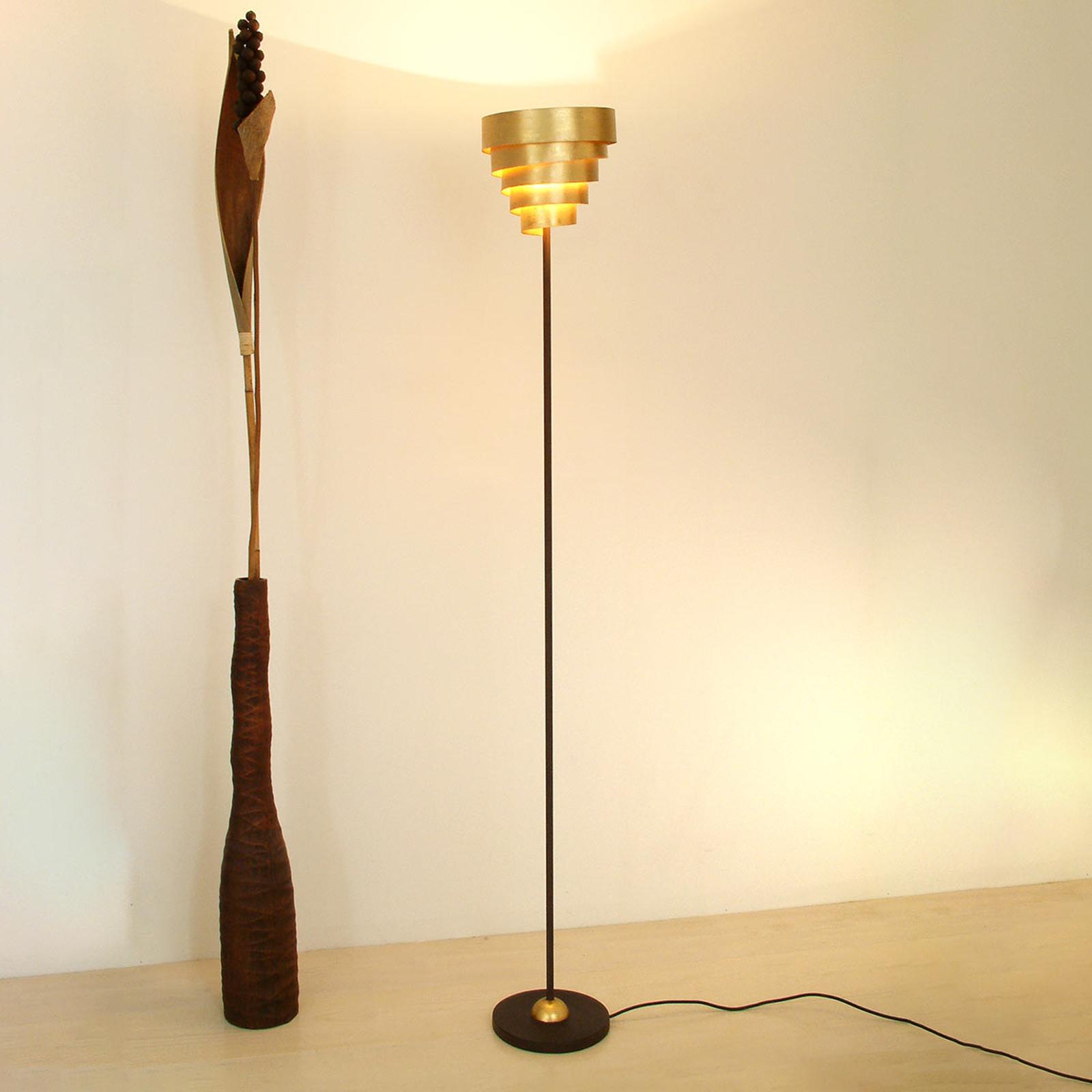 Produktové foto J. Holländer Stojací lampa Banderole hnědá-zlatá