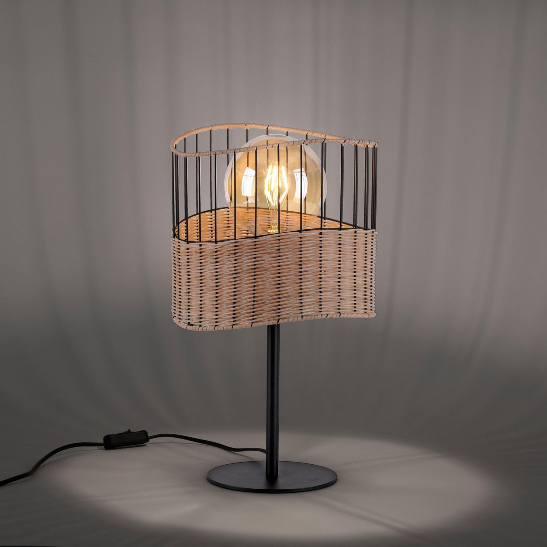 Tafellamp Reed van hout en metaal
