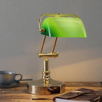 Bankierslamp Steve met groene glazen kap