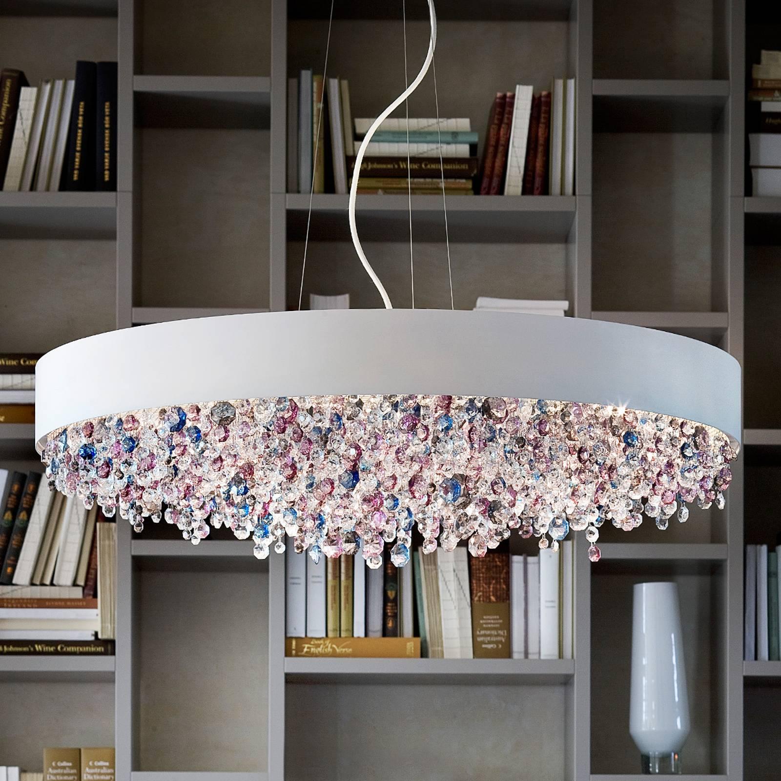 Opmerkelijke hanglamp Ola S6 90, wit, bont