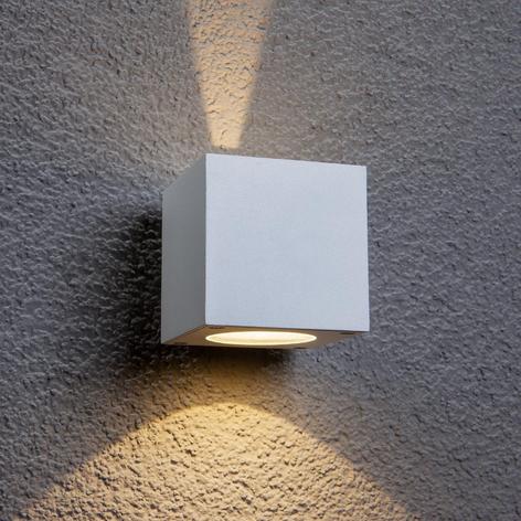 Hvit utendørs Jarno LED-vegglampe, terningform
