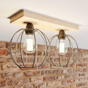 Plafondlamp Dorett, eikenhout, 2-lamps