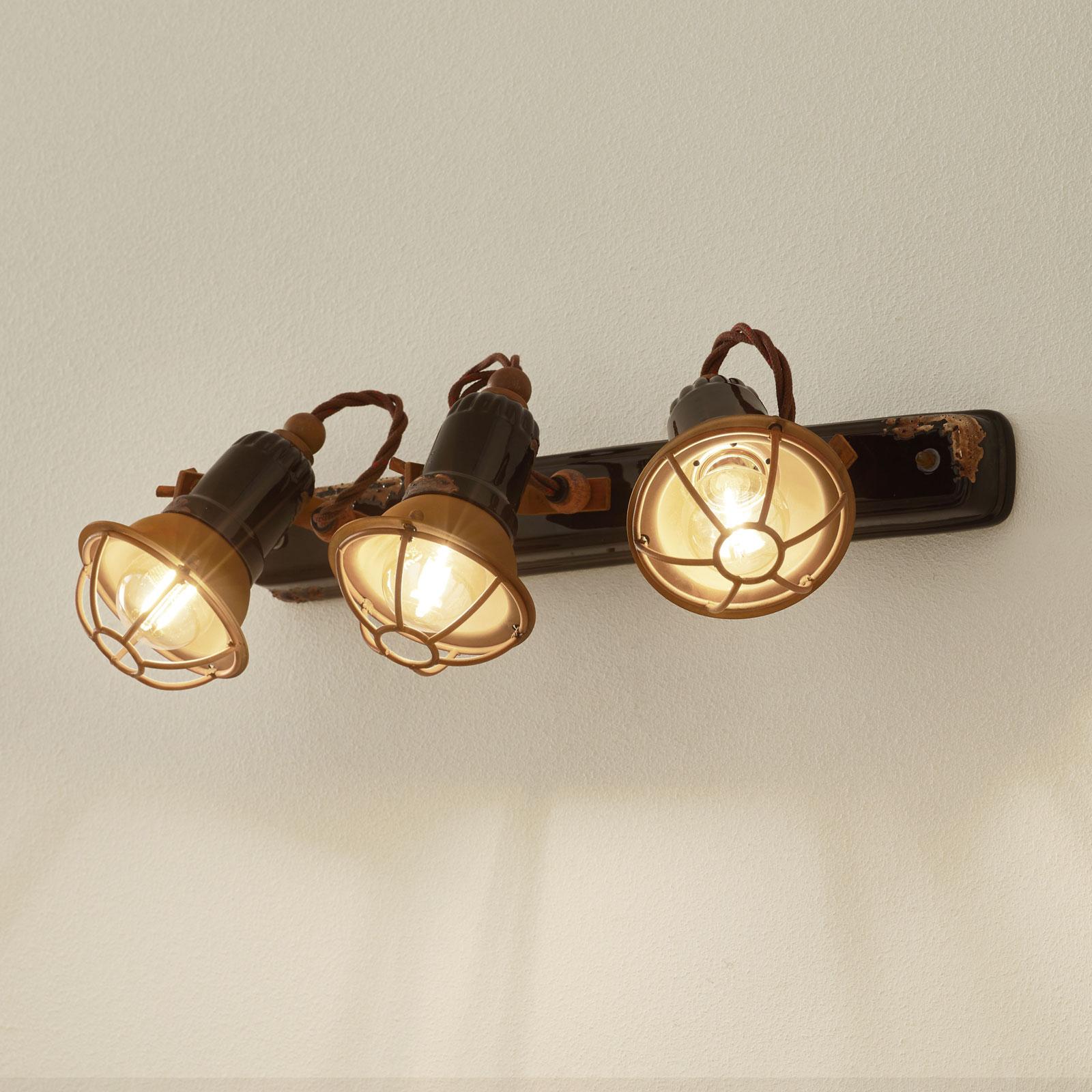 Applique C1677/1 avec corbeille, 3lampes, noire