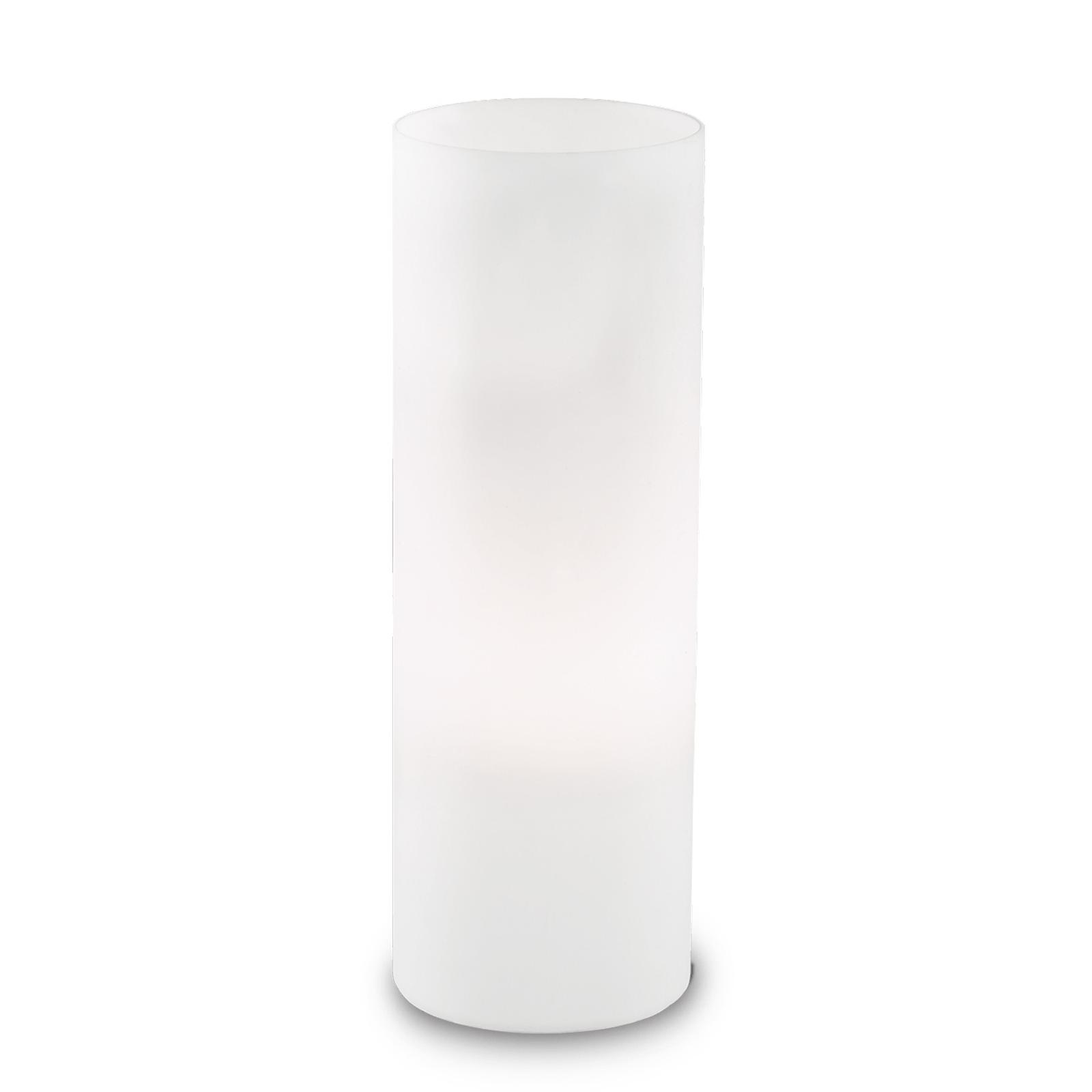 Tischleuchte Edo aus weißem Glas, Höhe 35 cm