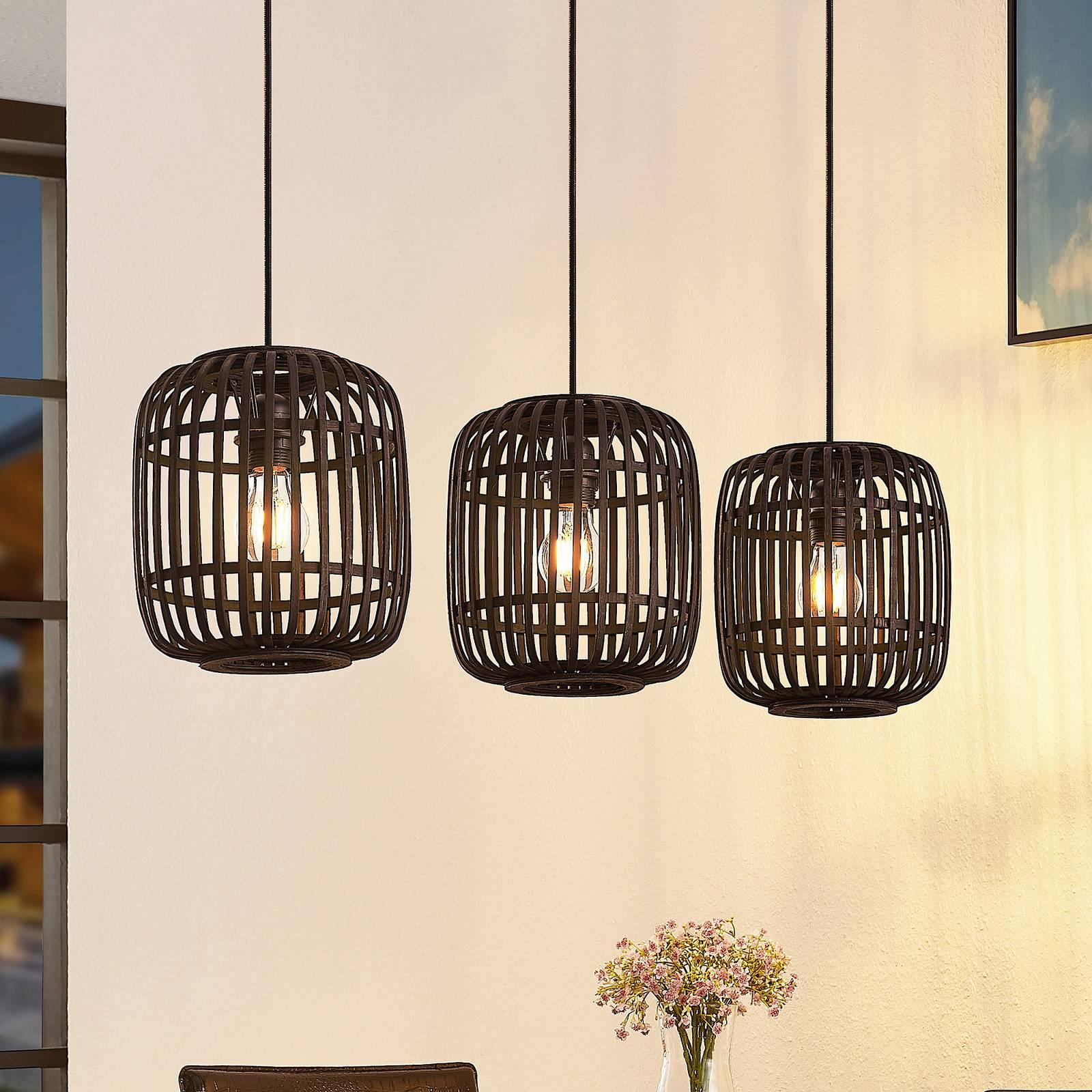 Lindby Canyana suspension, à 3 lampes, noire