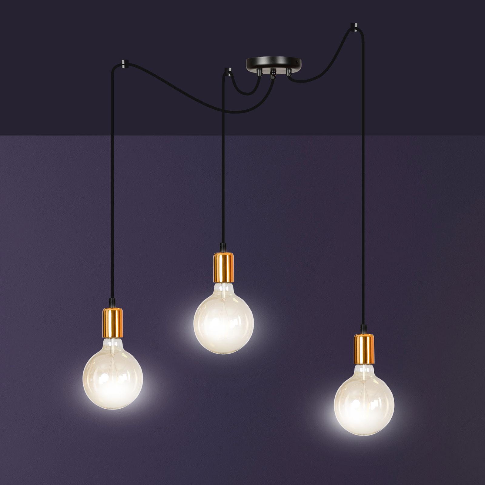 Hanglamp Spark 3 3-lamps, zwart-koper