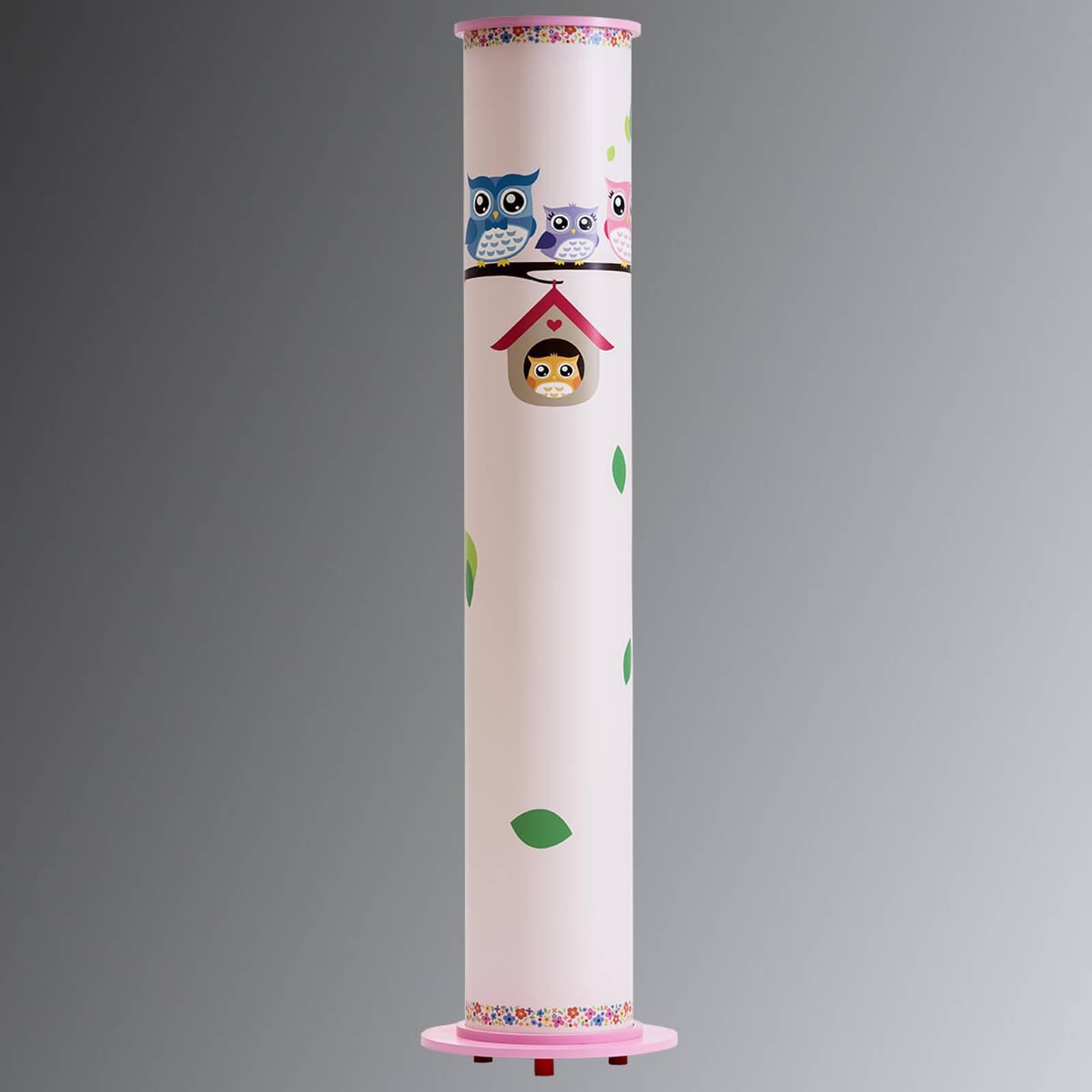 Vloerlamp Uil voor de kinderkamer, wit-roze